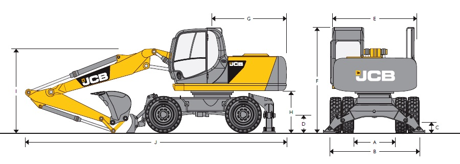 Схема колесного экскаватора JCB-160W